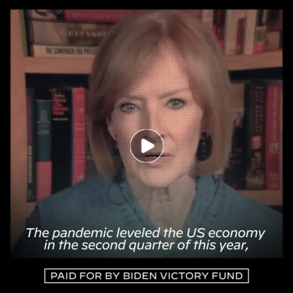 """Paused video from a Biden ad. The scene shows a news anchor with the following caption appearing while they speak: """"The pandemic leveled the US economy in the second quarter of this year."""" At the bottom of the video is a """"PAID FOR BY BIDEN VICTORY FUND"""" disclaimer."""