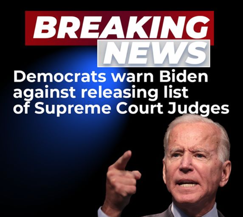 """Body of Trump ad. The ad shows Biden pointing a finger towards the camera with an angry expression. The ad body includes the following statement: """"BREAKING NEWS: Democrats warn Biden against releasing list of Supreme Court Judges."""""""