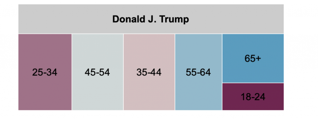 Tree map showing proportional spending by age group in Pennsylvania for Trump from 10/12 to 10/25