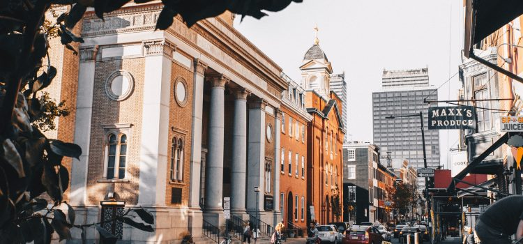 Street view of Rittenhouse Square in Philadelphia.