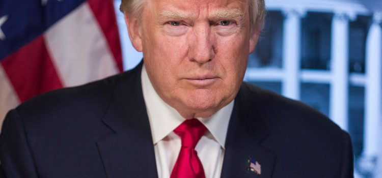 President Trump staring at the camera with an American flag in the background.