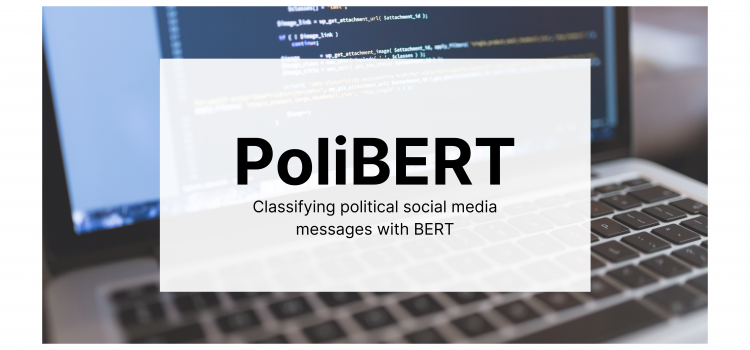 """The paper's title, """"PoliBERT: Classifying political social media messages with BERT,"""" is overlaid on an image of a computer with code on the screen."""