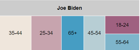 Tree map showing spending by age group for Biden from 6/1/ to 11/8/20 in Arizona. Biden spent the most on ages for 35-44, 25-34, and 65+ year-olds.