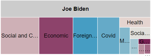 Tree map showing spending by message topic for Biden from 6/1 to 11/8/20 overall.  Biden spent the most on social and cultural, economic, foreign policy, and Covid.