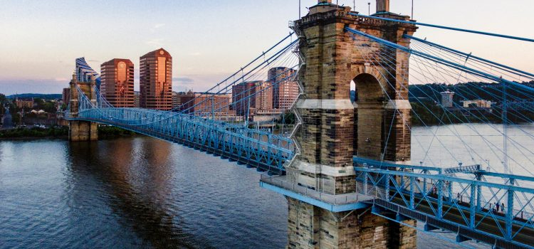 Photo of the John A. Roebling Suspension Bridge in Cincinnati.